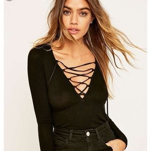 Urban Outfitters black lace up top